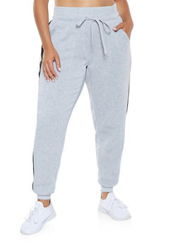 Plus Size Side Stripe Detail Sweatpants - 3951051063552