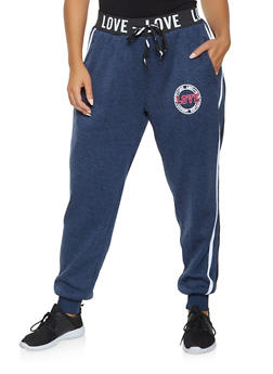 Plus Size Fleece Lined Graphic Sweatpants - 3951051063700
