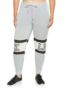 Plus Size BKLN Graphic Sweatpants - 3951051063746