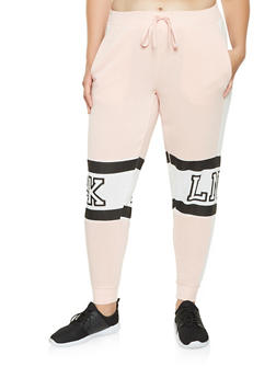 Plus Size BKLN Graphic Sweatpants - 3951051063746