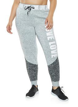 Plus Size Color Block Knit Sweatpants - 3951051063789