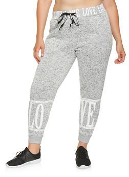 Plus Size Love Graphic Knit Sweatpants - 3951051063790