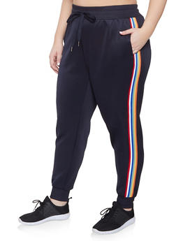 Plus Size Striped Tape Track Pants - 3951051064038