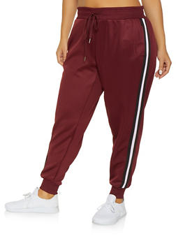 Plus Size Striped Tape Track Pants - 3951051064038