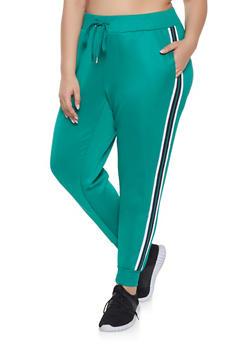 Plus Size Striped Tape Track Pants - 3951051064041