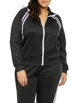 Plus Size Varsity Stripe Track Jacket - 3951051065140