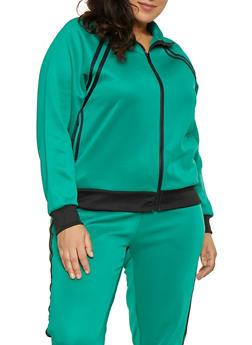 2a5129e6cb6 Plus Size Varsity Stripe Track Jacket - 3951051065140