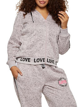 Plus Size Marled Love Hooded Sweatshirt - 3951051066390
