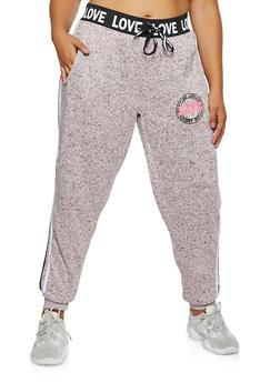 Plus Size Marled Love Sweatpants - 3951051066391