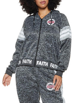 Plus Size Faith Graphic Hooded Sweatshirt - 3951051066729