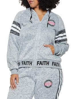 Plus Size Faith Graphic Hooded Sweatshirt - 3951051066729