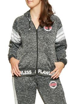 Plus Size Marled Graphic Zip Front Sweatshirt - 3951051066759