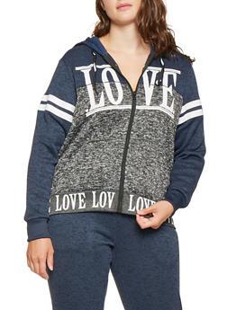 Plus Size Love Graphic Color Block Sweatshirt - 3951051066794