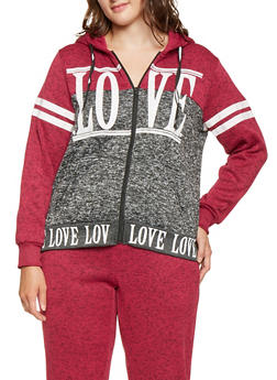 Plus Size Love Graphic Color Blocked Sweatshirt - 3951051066794