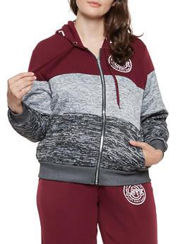 Plus Size Color Block Love Graphic Sweatshirt - 3951051066836