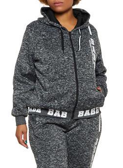 Plus Size Marled Babe Graphic Sweatshirt - 3951051066960