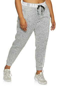 Plus Size Marled Babe Graphic Joggers - 3951051066961