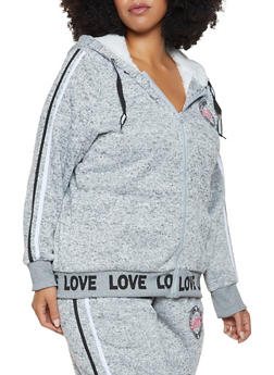 Plus Size Sherpa Lined Graphic Sweatshirt - 3951051066981
