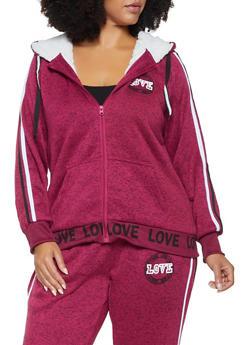 Plus Size Sherpa Lined Graphic Sweatshirt - 3951051066981