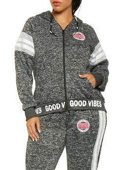 Plus Size Good Vibes Graphic Zip Front Sweatshirt - 3951051067029