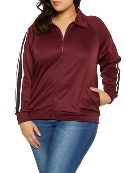 Plus Size Chevron Track Jacket - 3951051067131