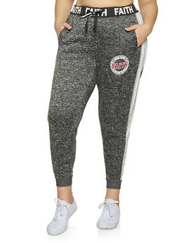 Plus Size Faith Graphic Knit Joggers - 3951051067295