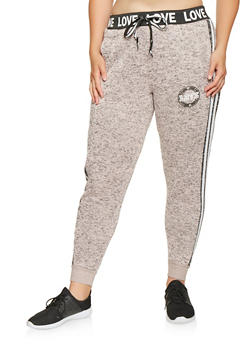 Plus Size Love Graphic Joggers - 3951051067705