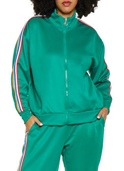 Plus Size Striped Tape Track Jacket - 3951051067708