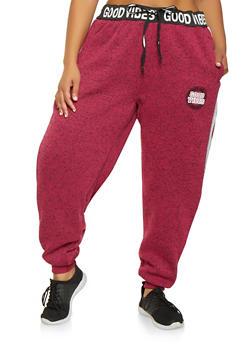 Plus Size Good Vibes Graphic Sweatpants - 3951051067751