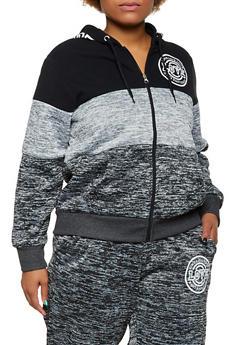 Plus Size Marled Color Block Love Sweatshirt - 3951051068360