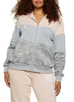 Plus Size Marled Color Block Love Sweatshirt - 3951051068360