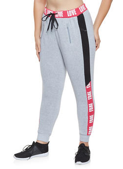 Plus Size Love Graphic Sweatpants - 3951051069355