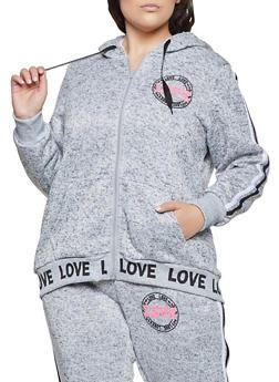 Plus Size Sherpa Lined Love Sweatshirt - 3951051069810