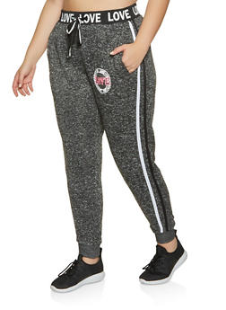 Plus Size Love Varsity Stripe Joggers - 3951051069811