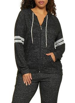Plus Size Varsity Stripe Knit Sweatshirt - 3951054260609
