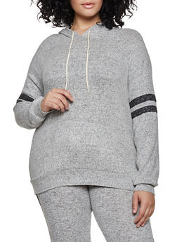 Plus Size Brush Knit Sweatshirt - 3951054260610