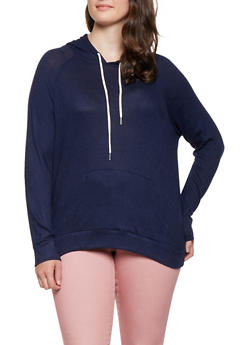 Plus Size Brushed Knit Hooded Top - 3951054265847