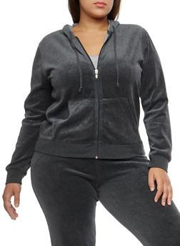 Plus Size Velour Zip Front Hooded Sweatshirt - 3951054268906