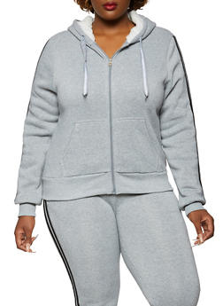 Plus Size Varsity Stripe Sleeve Sweatshirt - 3951056721468