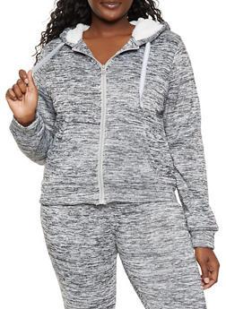 Plus Size Sherpa Lined Hooded Sweatshirt - 3951056721487
