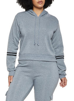 Plus Size Varsity Stripe Hooded Sweatshirt - 3951056724002