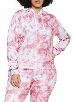 Plus Size Tie Dye Hooded Sweatshirt - 3951056724022