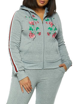 Plus Size Floral Detail Hooded Top - 3951056724407