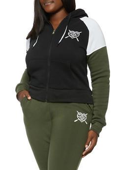 Plus Size Color Blocked Heart Graphic Sweatshirt - 3951056725530