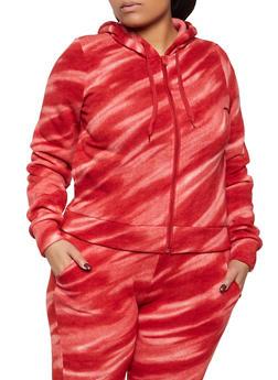 Plus Size Tie Dye Zip Front Sweatshirt - 3951056727001