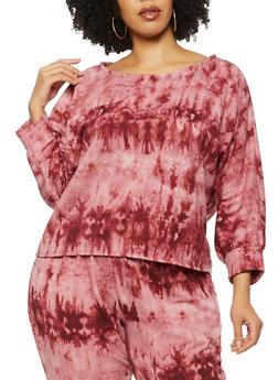 Plus Size Tie Dye Boat Neck Sweatshirt - 3951058752890