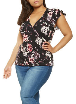Plus Size Floral Faux Wrap Top - 3951060580080