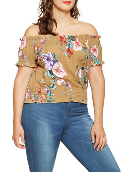 Plus Size Smocked Off the Shoulder Floral Top - 3951060580379