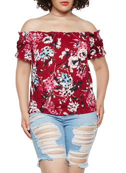 Plus Size Floral Smocked Off the Shoulder Top - 3951060580382