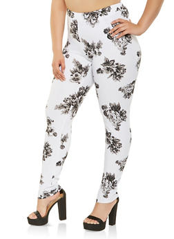 Plus Size Floral Casual Pants - 3951060583106